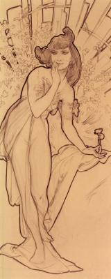Alphonse Mucha. Carnation. Sketch