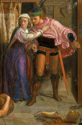 William Holman Hunt. The flight of Madeline and Porphyro attending the revelry on the eve of St. Agnes. Fragment II