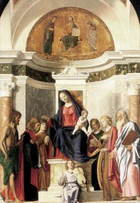 Чима да Конельяно. Мадонна, возведенная на престол с младенцем
