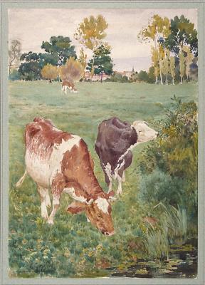 Е. Гепферт. Коровы, пасущиеся на лугу