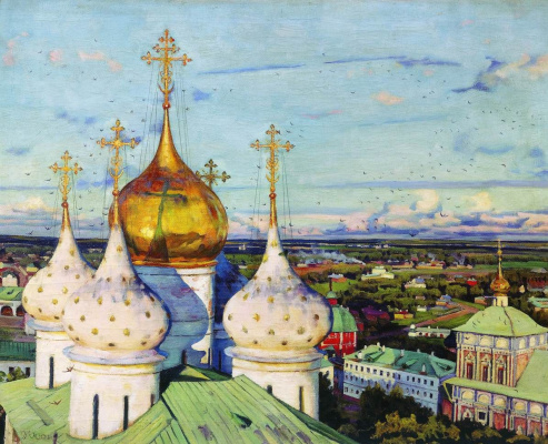 Konstantin Fedorovich Yuon. The dome and swallows. Assumption Cathedral of the Trinity Lavra of St. Sergius