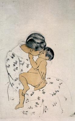 Mary Cassatt. Maternal kiss