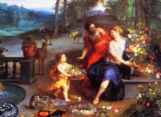 Цветы и Нимфы в саду