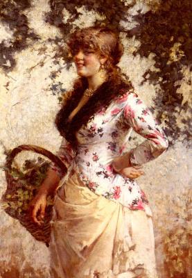 Эгисто Ланцеротто. Молодая женщина в винограднике