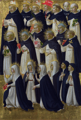 Fra Beato Angelico. Christ in Glory: with pontiffs and the Dominican blessed. The limit of the altar of St. Dominic in Fiesole