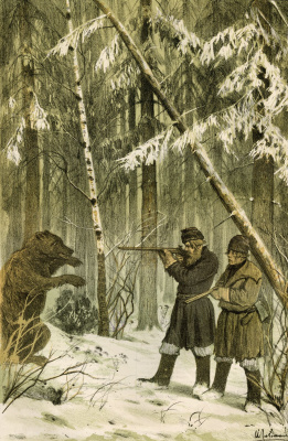 "Isaac Levitan. Hunting sketches (Bear). Lithograph in the journal ""Moscow"" (Moscow, 1882), No. 42. S. 346"