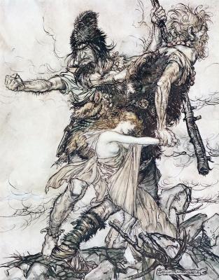 Arthur Rackham. Fasolt and Fafner seized Freya