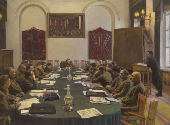 Isaac Brodsky. The meeting of the Revolutionary Military Council of the USSR, chaired by K.E. Voroshilov