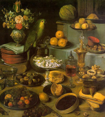 Georg Flegel. Fruit and a parrot