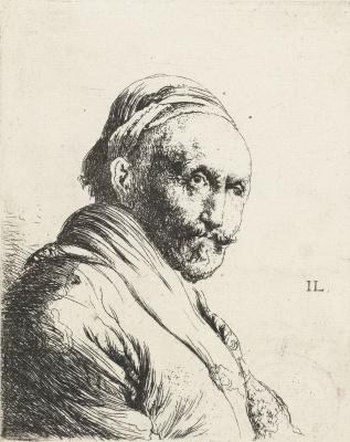 Jan Lievens. Portrait of an elderly man with a mustache