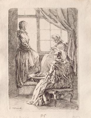 Даниэль  Николай Ходовецкий. Три дамы у окна