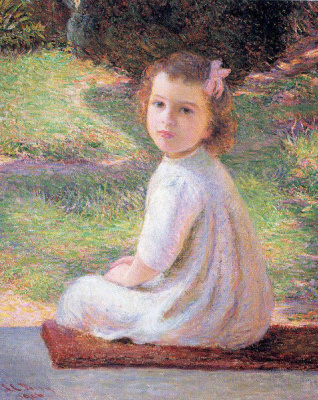 Lila Cabot Perry. Girl with pink bow