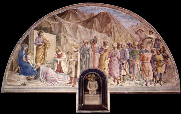 Фра Беато Анджелико. Поклонение волхвов. Фреска монастыря Сан Марко, Флоренция