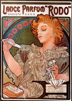 "Alphonse Mucha. The poster of perfume ""Rodo"""