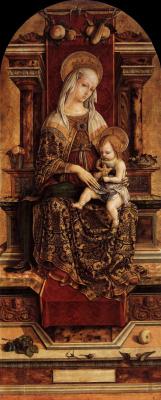 Карло Кривелли. Мадонна на троне. Алтарный триптих Камерино, центральная часть