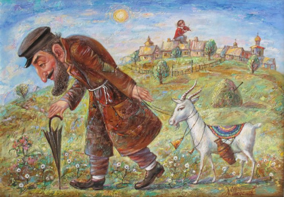 Alexander Nikolaevich Shabanov. GOING WITH A GOAT Oil on canvas 45 * 65