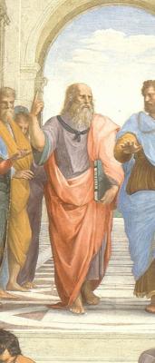 "Raphael Santi. Stanza della Senyatura。壁画""雅典学校""。片段:柏拉图(列奥纳多达芬奇)"