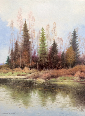 Vasily Ivanovich Gribennikov. Forest by the river