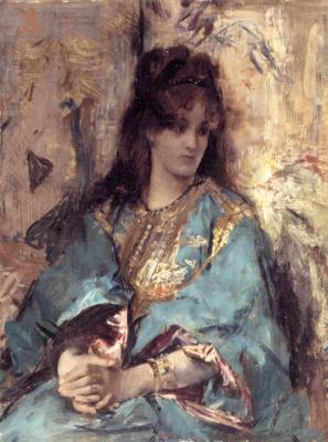 Альфред Стивенс. Женщина, сидящая в восточном платье