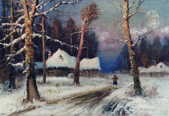 Julius Klever. Winter evening in the village