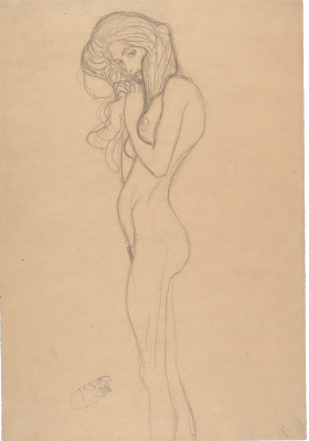 "Gustav Klimt. Nude girl. Sketch for ""Beethoven Frieze. Three Gorgons"""