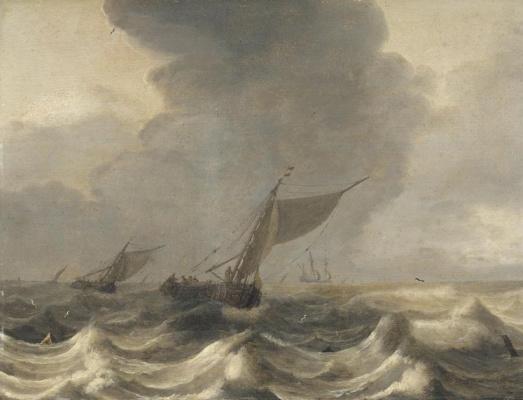 Ян Порселлис. Морской пейзаж с малыми судами
