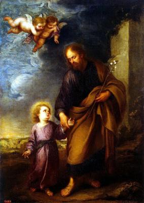 Bartolomé Esteban Murillo. Saint Joseph leading by the hand the Christ child