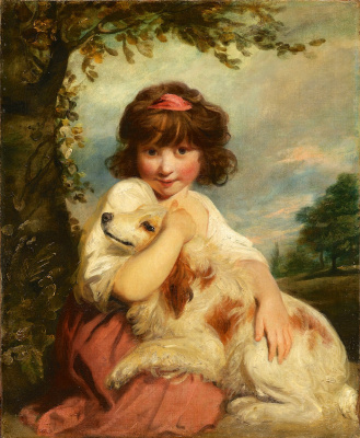 Joshua Reynolds. Girl with a dog