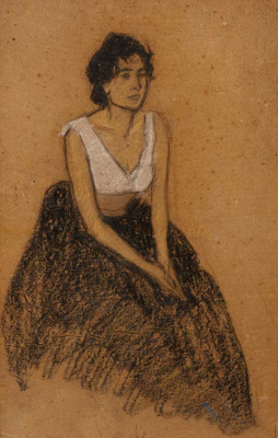 Theophile-Alexander Steinlen. In thought. Portrait of a seated woman