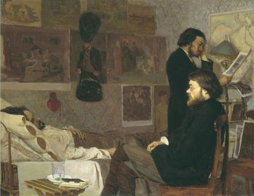 Кириак Константинович Костанди Украина 1852−1921. У больного товарища. 1884