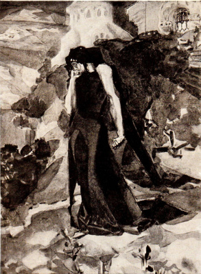 "Mikhail Vrubel. Demon at the walls of the monastery. Illustration to the poem by Mikhail Lermontov ""Demon"""