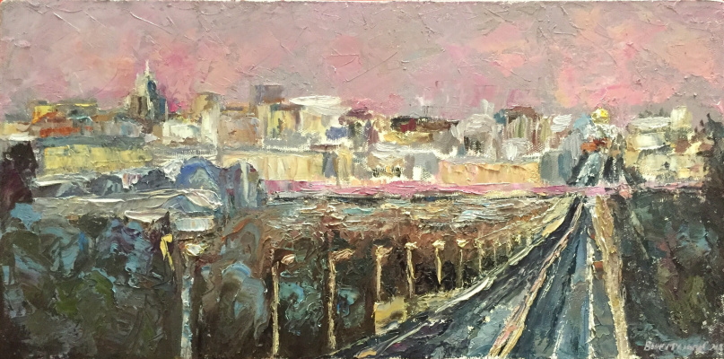 """Sophia Vinogradova. The painting """"In motion"""" (oil on canvas, road city spring Moscow lights movement panorama pink palette knife Moscow panorama view of Moscow)"""