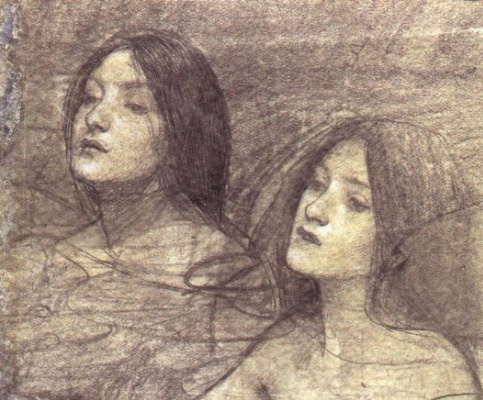 "John William Waterhouse. Two nymphs. A sketch for the painting ""Hylas and the nymphs"""