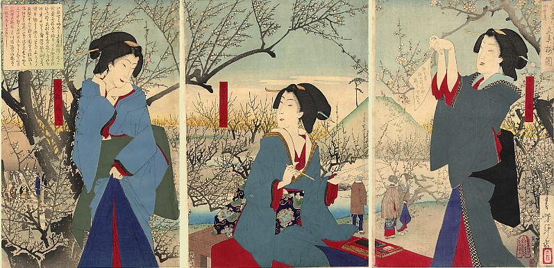 Tsukioka Yoshitoshi. Triptych: the Beauty of writing poems in the flowered garden