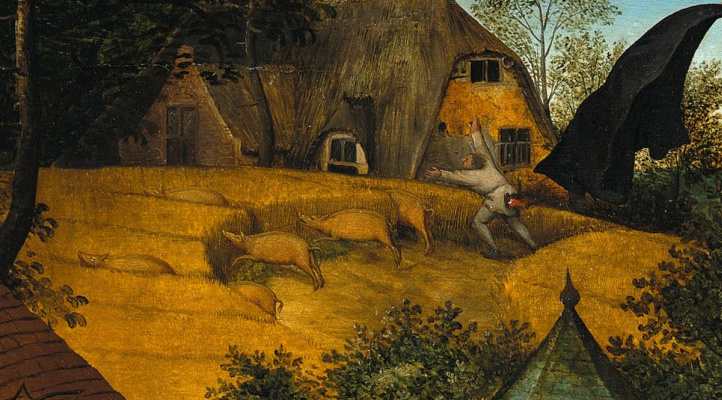 Pieter Bruegel The Elder. Flemish proverbs. Fragment: If the gates are open, the pigs run into the barn - carelessness turns into disaster. The grain is smaller - the pig is thicker - the profit of one turns into losses of the other. Run like your ass is on fire - be in big troubl