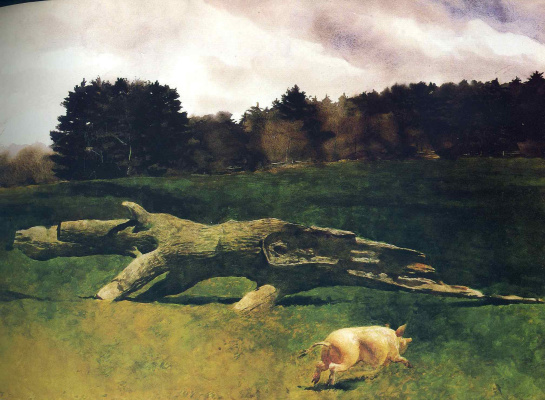 Jamie Wyeth. Running pig