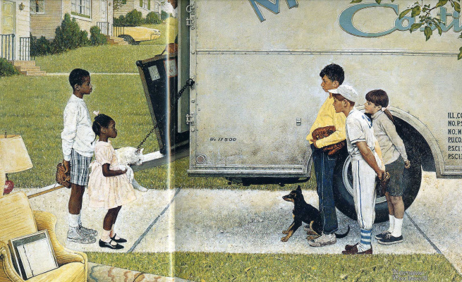 """Norman Rockwell. New neighbors. Illustration for the magazine """"Look"""" (16 may 1967)"""