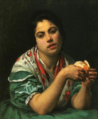 Mary Cassatt. The woman, cleansing orange