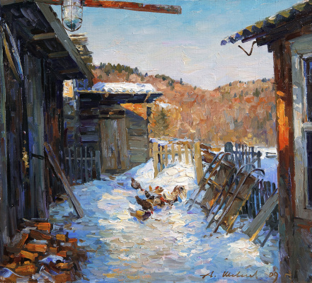 Alexander Victorovich Shevelyov. Yard.Oil on canvas 34,5 # 37,8 cm, 2009