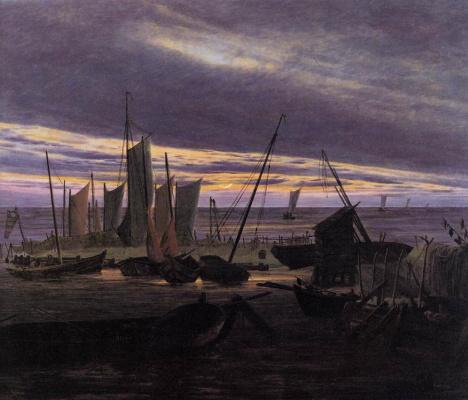 Caspar David Friedrich. Boats in the harbor in the evening