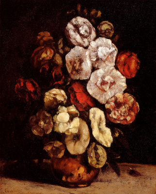 Gustave Courbet. Hollyhocks in a copper bowl