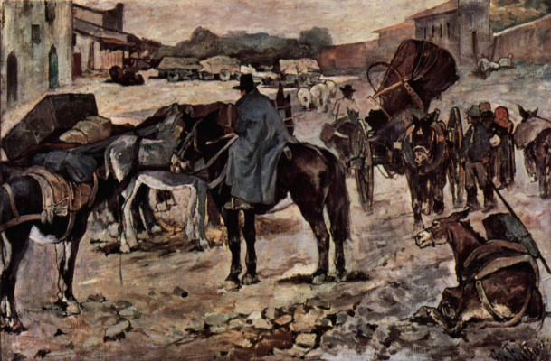 Giovanni Fattori. Farmers, donkeys and merchants on a country road