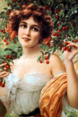 Emile Vernon. Girl under the cherry blossoms