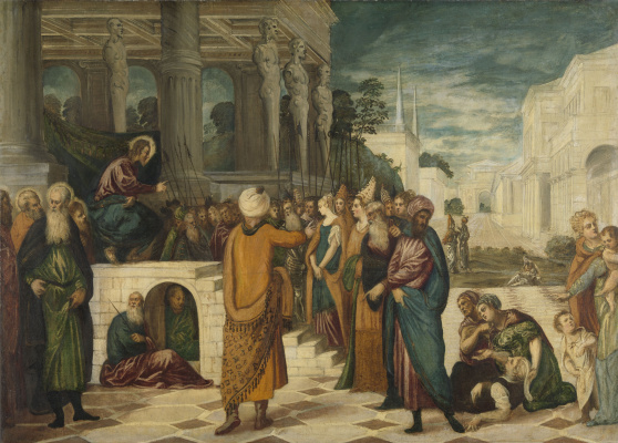 Jacopo (Robusti) Tintoretto. Christ and the woman accused of adultery