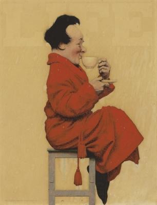 "Мужчина на табуретке с чашкой чая. Рисунок для журнала ""Лайф"""