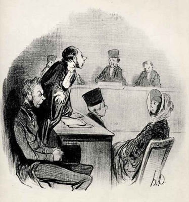 "Honore Daumier. Divorce: ""I'm so convincingly portrayed the guilt of the opposing party, that we are now lacking only evidence."""