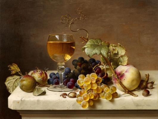 Johann Wilhelm Preyer. Fruit still life. 1864