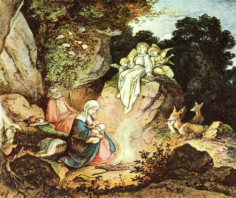 Adrian Ludwig Richter. Rest on the flight into Egypt