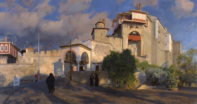 Dmitry Anatolyevich Belyukin. Evening. The entrance to the monastery of Vatopedi