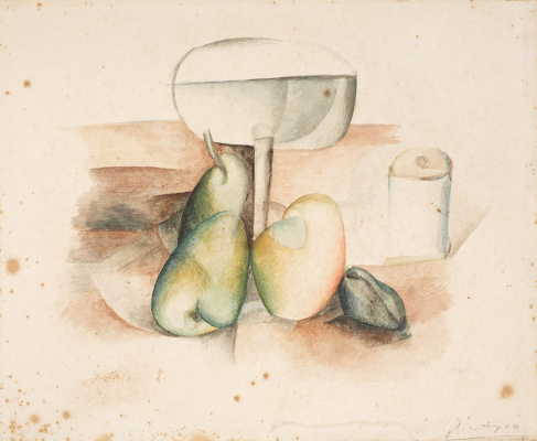 Pablo Picasso. Still Life with Glass and Fruit
